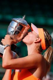 舒拉寶娃2014年贏得法國網球公開賽冠軍。(法新社資料圖片)