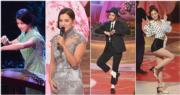 謝嘉怡(左二)表演唱歌,娛樂度勝過謝恩靈(左起)、麥詩晴及郭柏妍。(鍾偉茵攝/明報製圖)