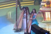 陳偉琪與陳楨怡演奏豎琴。(鍾偉茵攝)