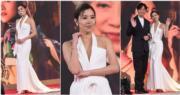 黃智雯同樣揀了白色戰衣,展示其個人美態。(娛樂組攝/明報製圖)