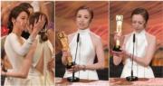 龔嘉欣獲得最受歡迎電視女角色,好友姚子羚即上前祝賀。(娛樂組攝/明報製圖)
