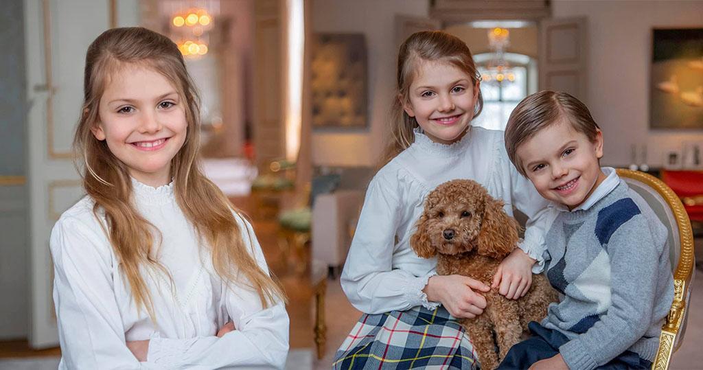 瑞典Princess Estelle小公主9歲生日 抱小狗孖弟弟溫馨合照