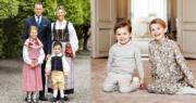 (左圖)瑞典女王儲維多利亞公主一家四口合照。(右圖)Princess Estelle小公主與弟弟Prince Oscar合照。(Kungahuset facebook圖片)