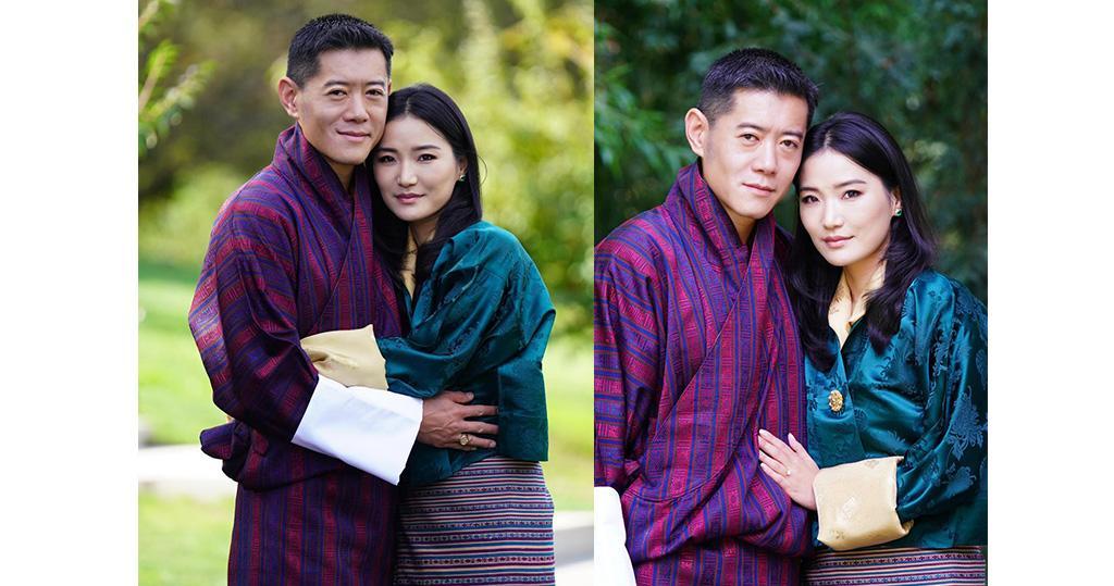 不丹國王結婚10周年發新相 輕攬王后表現恩愛