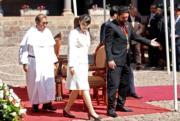 2019年7月14日,真子公主(中)訪問秘魯。(法新社)