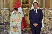2019年7月11日,真子公主(左)訪問秘魯,在首都利馬與秘魯總統比斯卡拉(Martin Vizcarra)(右)會面。(法新社)