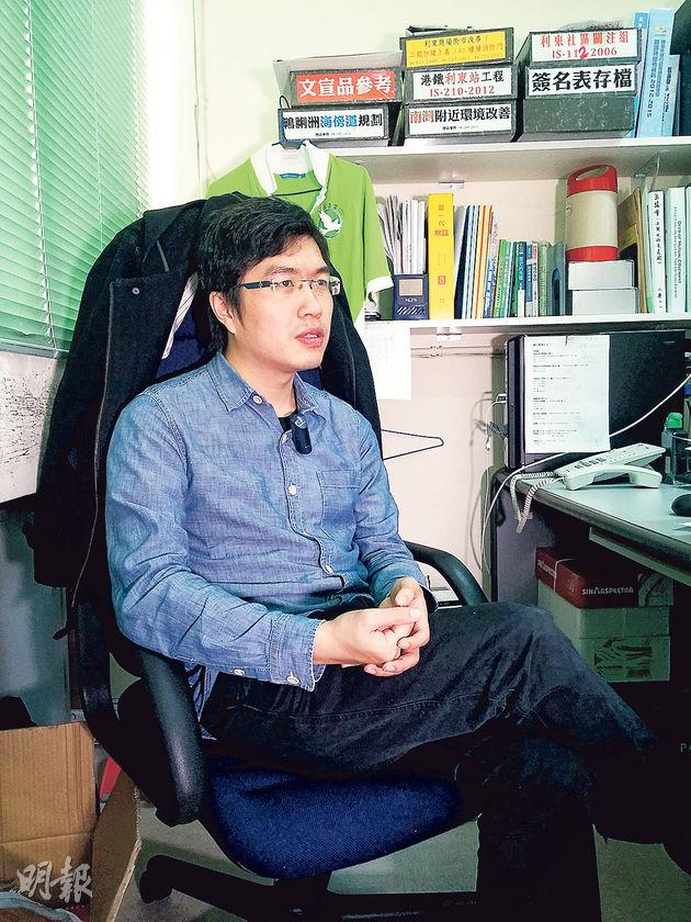 上屆區議會選舉,民主黨區諾軒在香港仔利東邨以119票之微險勝對手。不過,對於今年底舉行的區選,區諾軒對泛民選情相當悲觀。(李世豪攝)