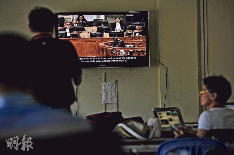 聯合國柬埔寨法院特別法庭歡迎旁聽,但不能拍攝。旁邊設有轉播室,提供現場審訊直播。(胡景禧攝)