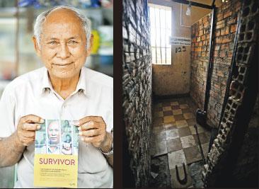 Tuol Sleng集中營極少數的倖存者之一Chum Mey,他寫書講述了自己的故事(左圖),2009年,他在特別法庭出庭指證Tuol Sleng典獄長康克由,康克由最後被判囚終身。右圖為Chum Mey在Tuol Sleng被折磨的兩年間被關押的地方,他因莫須有的罪名被捉進去,因為懂得維修機械才得以保命。(胡景禧攝)