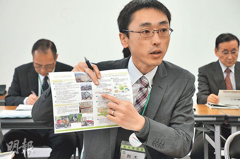 仙台市復興事業局震災復興室主任鈴木淳志說,會留意3.11資料的保存,要將經驗傳給幾百年後的人。(林迎攝)