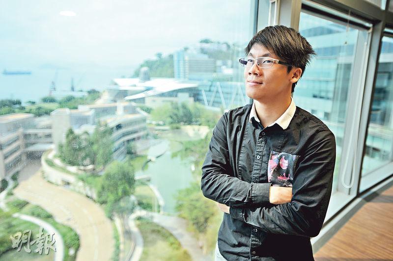 陳易希透過數碼港培育計劃資助,與朋友成立科研企業Bull‧b technology,至今開業約兩年,每年盈利逾百萬元。(胡景禧攝)