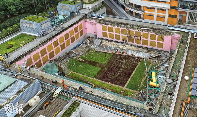 綠化無入則 城大體育館塌頂 1400平方米塌下如3籃球場