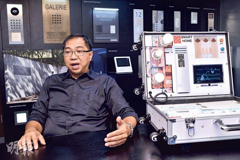 港企力訊科技董事陳榮基稱,內地「營改增」減低成本,對中小企幫忙有限。(馮凱鍵攝)