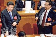 「權威人士」與國務院態度有異,顯示高層在經濟政策上分歧明顯。圖為國家主席習近平(左)和總理李克強(右)今年3月出席全國人大會議。(資料圖片)