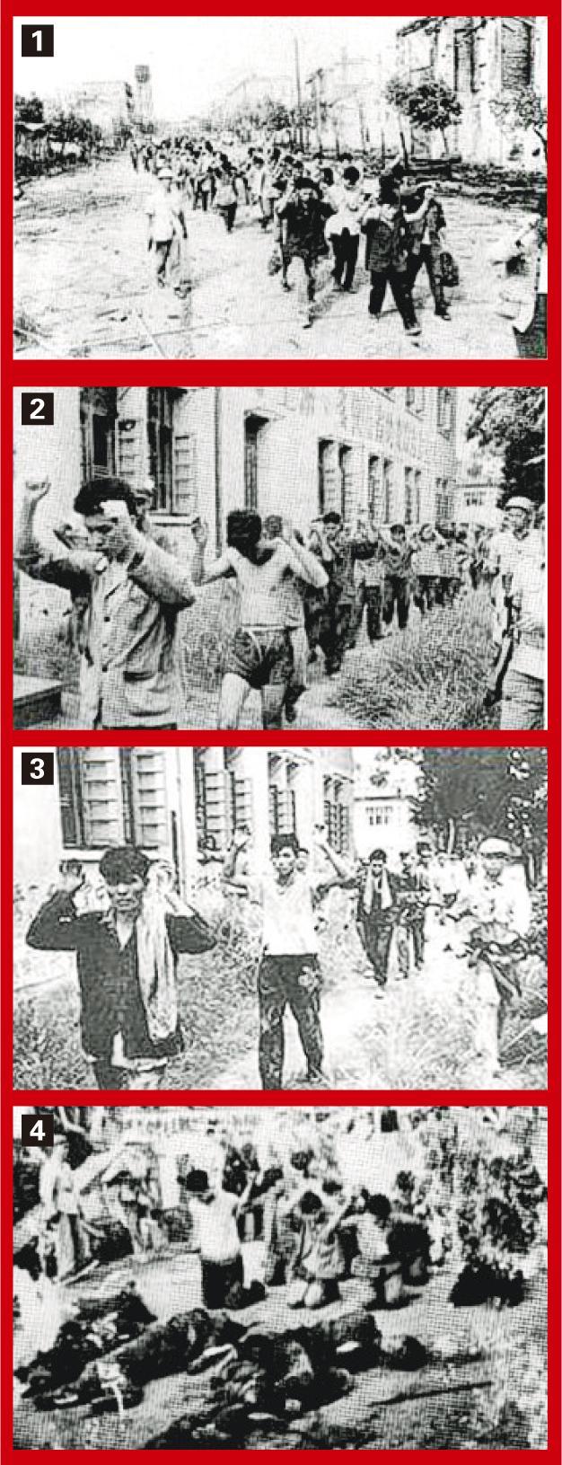 1968年8月,廣西軍區的軍人伙同「聯指」,包圍四二二「造反派」在南寧的據點,打死打傷約1340人。圖1至3:武鬥後,被俘的「造反派」人員被押走。圖4:四二二「造反派」的俘虜被當街處死。(黑白資料圖片)