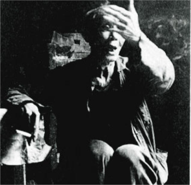 曾殺人食肝的易晚生,文革後因年紀大被免於處理。圖為他當年受訪,承認殺人,還說「誰來問我都不怕,幹革命,心紅膽壯」。(黑白資料圖片)