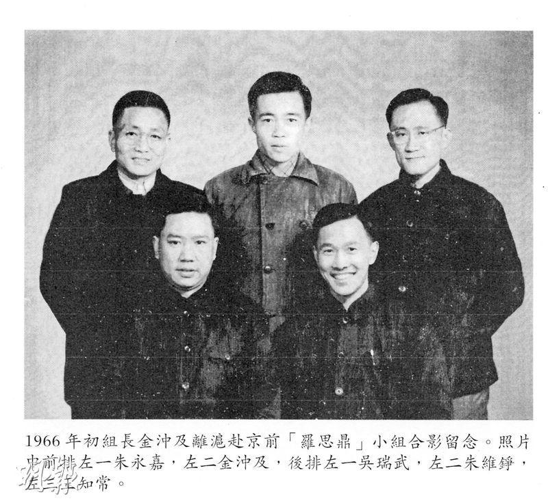 朱永嘉(前左)為文革「羅思鼎」小組成員,1966年該組組長金沖(前右)離滬上京前與組員合照。