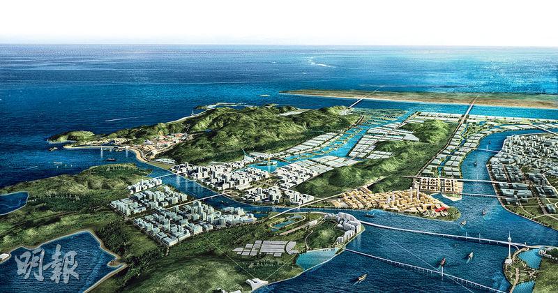 旅遊業在橫琴多元化發展中率先跑出,力圖打造「東方奧蘭多」。圖為橫琴未來發展構想圖。(資料圖片)