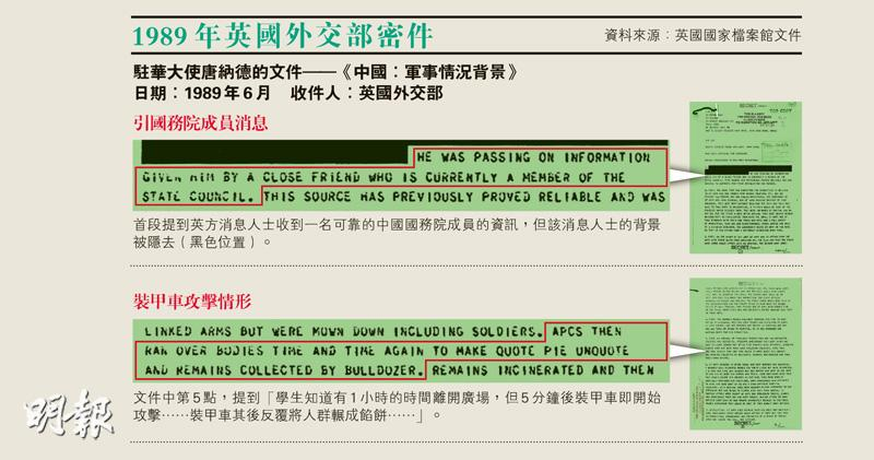 英國評估﹕六四北京3000人被殺  英揆顧問柯利達:須傳達港非顛覆基地