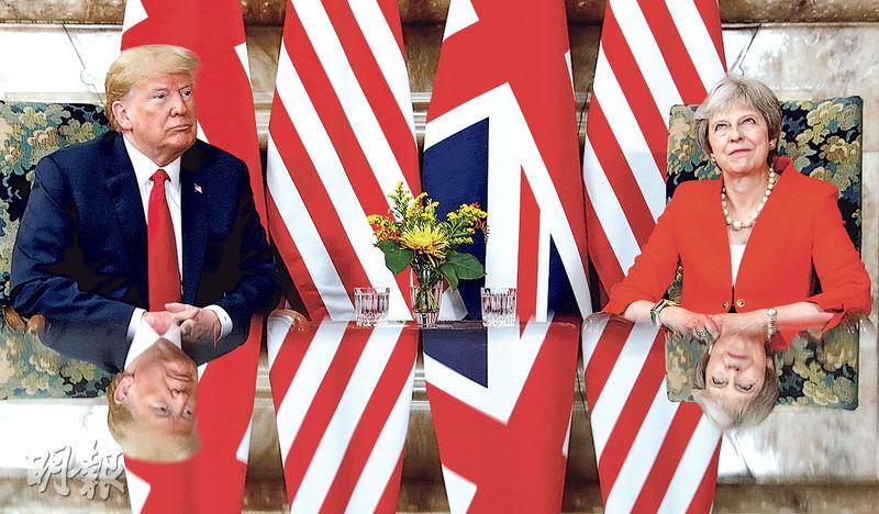 美國總統特朗普(左)和英國首相文翠珊(右)在後者的鄉郊官邸會面。