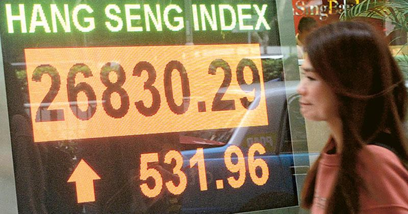 發改委等3個部委在記者會提及多項提振經濟措施,刺激中港股市急升,恒指最多升逾540點,並以近全日高位收市,全日上升531點,報26,830點。(中新社)