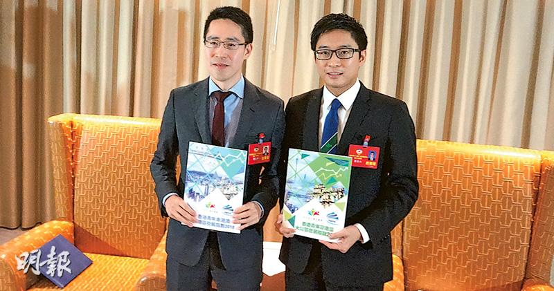 廣東政協常委郭基煇(左)與霍啟山(右)發布關於港青對大灣區認知的調查。(陳奕勤攝)