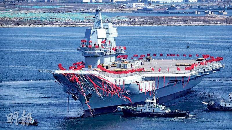 中國第一艘自主研發航空母艦於2017年在大連舉行下水禮。(法新社)