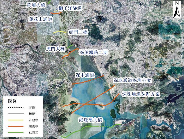現有和計劃在建的珠江口大型通道,除深珠通道之外已有8條(圖示),再多建一條跨海跨江通道是否必要?(作者提供)