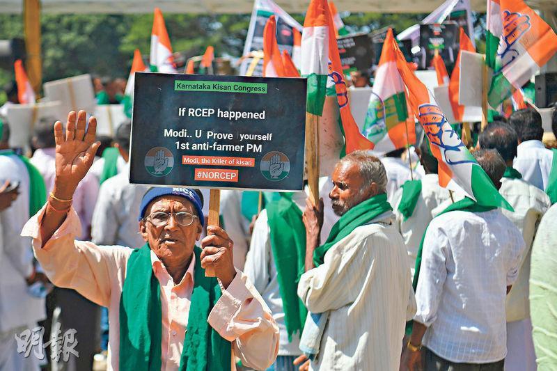 圖為印度一名支持農民的抗議者手持標語反對 RCEP。(法新社)