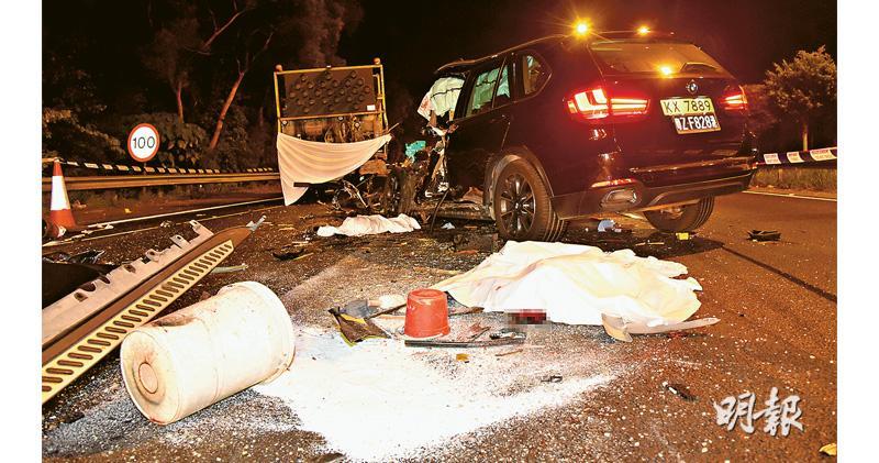 寶馬撞死修路工 司機涉酒駕 青朗公路髹分隔線 死者身斷兩截
