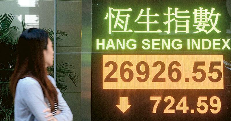 憂再引緊急法 恒指急挫724點  「八五罷工」以來最大跌幅 地產零售股重災