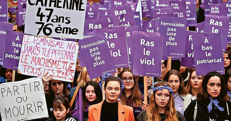 巴黎紫色旗海  抗議家暴「國恥」  警被指不作為  調查:令四成遇害女性不獲救