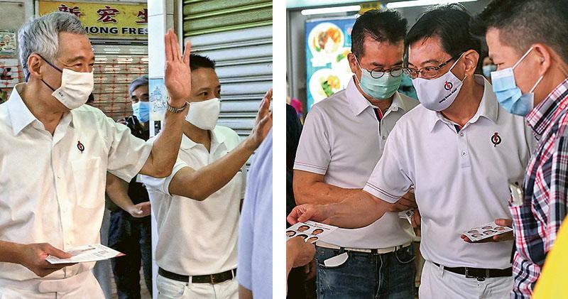 一般相信,新加坡總理李顯龍(左圖左)在兩年內交棒予副總理兼財長王瑞杰(右圖中),讓星洲政壇徹底進入「第四代領袖」的時代。圖為兩人近日拉票情况。(法新社)