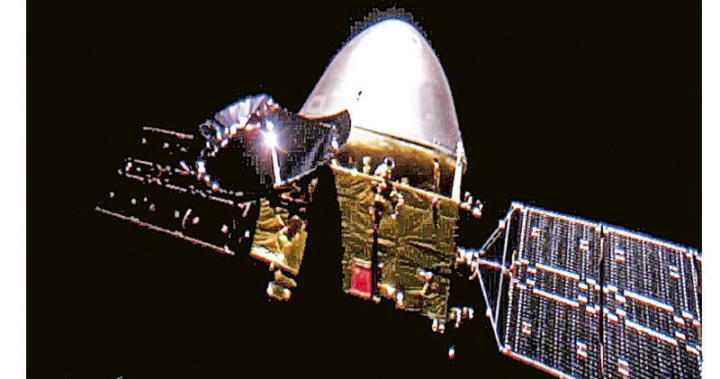 探火星「天問一號」傳首張自拍相 距地球2400萬公里 分離拍攝展示國旗