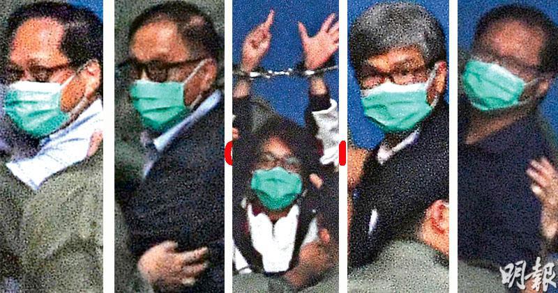 10‧1遊行被告全還押 5泛民首收監 陳皓桓呼「集氣再爭取」 黎智英做心形手勢